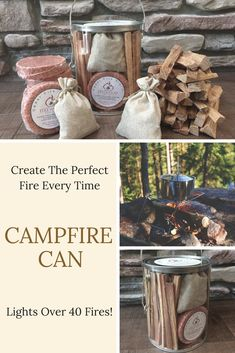 Use the Campfire Can fire starter kit to make building your next fire quick and easy. Includes enough premium fire starters to light over 40 fires! Homemade Fire Starters, Make Build, Campfire Food, Can Lights, Firewood, Make It Yourself, Canning, Create, Easy