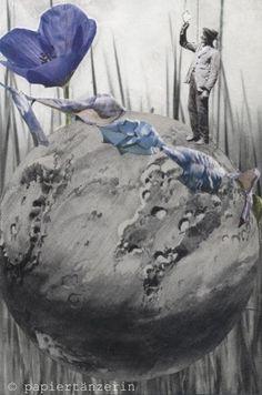 blauer gruss. handmade collage von papiertänzerin.