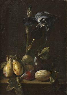 Still Life with an Iris and Plums Pietro Paolo Bonzi Nationalmuseum .jpg (724×1024)