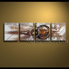 Enchant Modern Abstract Painting Artist Oil Painting Stretched Ready To Hang Abstract. This 4 panels canvas wall art is hand painted by A.Qiang, instock - $172. To see more, visit OilPaintingShops.com