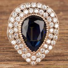 Hurrem Sultan Ring Tear Drop Sapphire Turkish Ottoman Jewelry 925 SterlingSilver