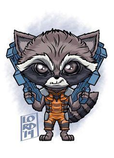 Chibi Rocket Raccoon by Lord Mesa Films Marvel, Marvel Cartoons, Marvel Dc Comics, Marvel Characters, Marvel Drawings, Cartoon Drawings, Comic Kunst, Comic Art, Lord Mesa Art
