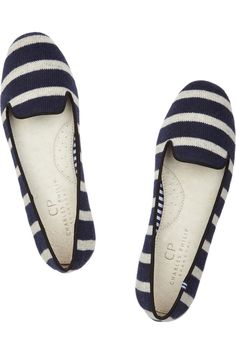 Charles Philip Shanghai|Sheila striped wool slippers|NET-A-PORTER.COM $135 - Dying for these!