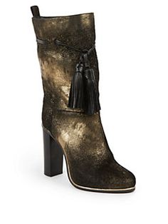 Lanvin - Metallic Foil Calf Hair & Leather Tassel Detail Mid-Calf Boots