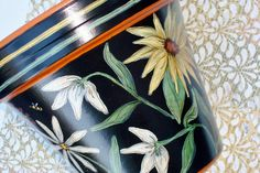 """Hand Painted Flower Pot 8 Inch """"Sunflowers""""- Ready to Ship. $34.00, via Etsy."""