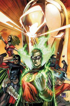 Green Lantern & Justice Society by Shane Davis Arte Dc Comics, Dc Comics Heroes, Dc Comics Characters, Fantasy Characters, Comic Book Covers, Comic Books Art, Comic Art, Justice Society Of America, Justice League