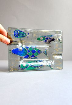 Fish Tray - Signed Higgins Glass.