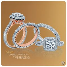 Introducing the new engagement rings and wedding bands from the Classic Collection. View these unique designs today at http://www.verragio.com #engagementrings