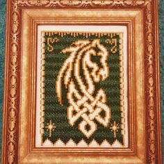 Rohan, Lord of the Rings, Celtic design, cross stitch, horse, banner