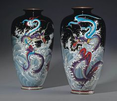 A Pair of Cloisonné Vases | ATTRIBUTED TO KUMENO TEITARO, MEIJI PERIOD (LATE 19TH CENTURY) | mythological, All other categories of objects | Christie's