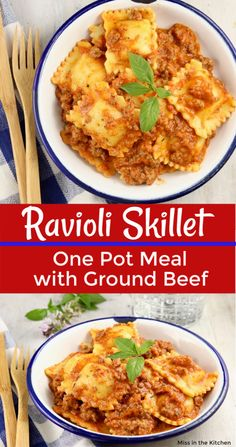 Ravioli Sauce is a quick & easy recipe made with ground beef & tomato sauce, perfect for frozen or refrigerated ravioli. A one pot meal in under 30 minutes! Meat Ravioli Recipe, Frozen Ravioli Recipes, Meat Sauce Recipes, Best Soup Recipes, Easy Dinner Recipes, Pasta Recipes, Easy Meals, Recipes With Beef Ravioli, Ravioli Bake