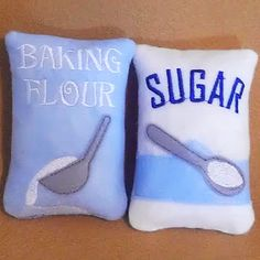 Play pretend Felt food - bag of blue Flour and Sugar Perfect for young bakers  play kitchens #2509