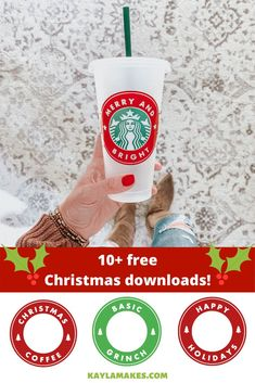 Christmas Starbucks Cold Cup Freebies - Kayla Makes Christmas cold cup decals are here! By popular demand, I finally added the first batch of Christmas/holiday and winter themed freebies to the site! Click the images below to be. Cricut Christmas Ideas, Christmas Projects, Christmas Holiday, Father Christmas, Country Christmas, Christmas Trees, Holiday Decor, Christmas Decor, Cricut Craft Room