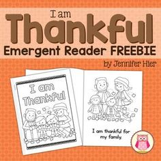 Thanksgiving emergent reader for preschool, pre-k, and kindergarten. The cute pictures and simple, predictable text in this 6 page little books make them a perfect emergent reader for young children.  The books are perfect to accompany a Thanksgiving unit or can be used any time of year to simply discuss gratitude.The following pages are included:I am thankful for my family.I am thankful for our home,I am thankful for our food.I am thankful!*plus a blank page that children can personalize…