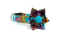 Aztec Floral Dog Collar and Flower Set / Made to Order / Aztec Pattern Dog Collar and Flower Set - pinned by pin4etsy.com