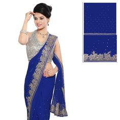 Royal Blue Faux Chiffon Saree with Blouse