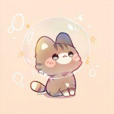 Cute Kawaii Animals, Cute Animal Drawings Kawaii, Cute Little Drawings, Kawaii Art, Anime Kawaii, Kitten Drawing, Chibi, Dibujos Cute, Cute Doodles