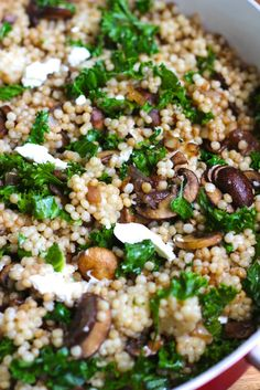 balsamic mushroom pearl couscous | via www.staceyhomemaker.com