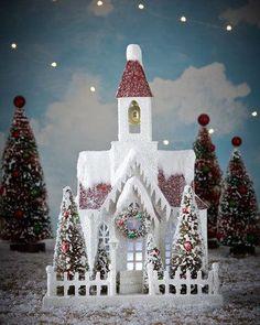 me ~ Bethany Lowe Vintage-Style Christmas Church Miniature Christmas, Christmas Paper, Christmas Home, Vintage Christmas, Christmas Crafts, Christmas Decorations, Christmas Ornaments, Holiday Decor, Xmas