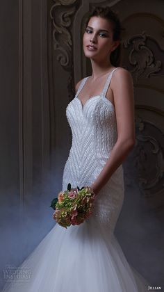 jillian 2016 wedding dresses beaded strap sweet heart deep neckline embroidered bodice fit to flare beautiful mermaid wedding dress corinna close up