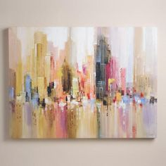 """Artist Michael Long paints in the tradition of the early 20th-century French impressionists, imbuing his work with light and timeless appeal. In """"City Spree,"""" he depicts a warm cityscape streaked with blush and peach and embellished in gold."""