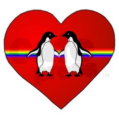 Penguins #heart #rainbow