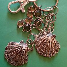 Handmade seashell keychain silver, dangling seashell keychain with hanging gems Accessories Key & Card Holders