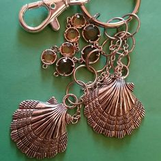 Handmade seashell keychain silver, dangling seashell keychain with hanging gems Accessories Key & Card Holders