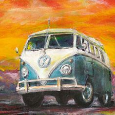 Vw bus pastel painting