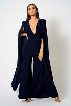 889000a7fe Womens   Plunge Front Cape Jumpsuit by Club L - Navy Blue