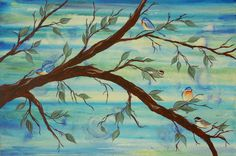 """""""Minagerie"""" acrylic tree/bird scape on gallery canvas"""