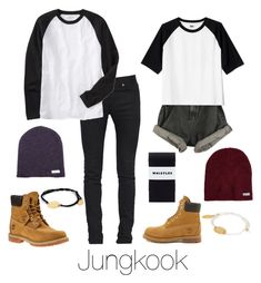 """""""Couple Outfit: Jungkook"""" by btsoutfits ❤ liked on Polyvore featuring Yves Saint Laurent, Old Navy, Timberland, Neff and Feather & Stone"""