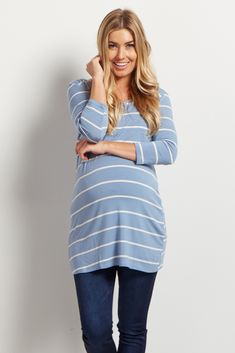 Blue-Striped-3/4-This striped plus size maternity top is perfect to show off your growing bump from week to week. Pair with your favorite pair of maternity jeans for a complete look. 3/4 sleeves make this a staple piece for any kind of weather.Sleeve-Top