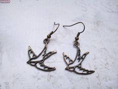 Ohrringe Vogel Bronze Vintage Schwalbe