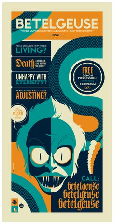 Beetlejuice poster by Tom Whalen