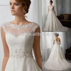 Cap sleeve illusion high neck lace overlay satin and organza wedding dress