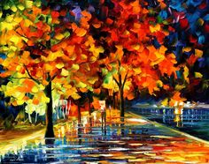 """Love this painting style and use of color! RIVERSHORE PARK— PALETTE KNIFE Oil Painting On Canvas By Leonid Afremov - Size 30""""X24"""""""