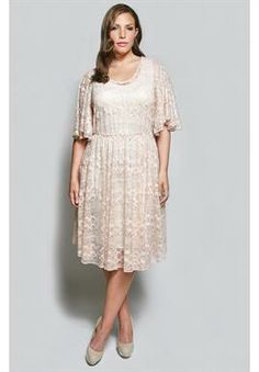 The Karrie Dress In Creamy Rose Lace | Plus Size Dresses | OneStopPlus