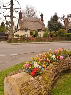 Thatched Cottage, Market Bosworth, Leicestershire, England Love the old log, dug out to provide area for planting plants looks so natural. Fairytale Cottage, Garden Cottage, Cozy Cottage, Cottage Style, Garden Farm, Storybook Homes, Storybook Cottage, Cottages Anglais, Flower Bed Designs