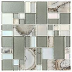 glass mosaic tile silver onyx pattern - Badezimmer Grau Beige