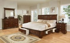 Bedroom Set Includes: King Storage Bed, Dresser, Mirror, Chest and 2 Night Stands Features: Complete storage system Classic cherry finish Solid hardwood and sel