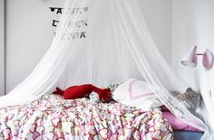 Add bursts of colour to your kids' rooms with brightly patterned bedding #IKEAIDEAS | Sara's home in Stockholm from #IKEAFAMILYMAGAZINE