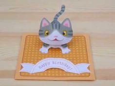 [Tutorial] pop-up Kitten -Birthday card- - YouTube