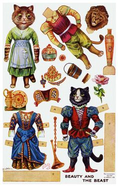 Beauty and the Beast. Cut-out postcard enabling children to cut out the garments and fit them on the body of the nursery Framed Print Framed, Poster, Canvas Prints, Puzzles, Photo Gifts and Wall Art Maurice Careme, Laurel Burch, Nursery Rhyme Characters, Louis Wain Cats, Fabian Perez, Marionette, Paper Dolls Printable, Paper Animals, Up Book