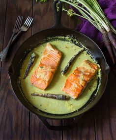 Pan Seared Salmon in Coconut Milk. Pan seared salmon in spiced coconut milk. A perfect dish for date night. Salmon Recipes, Fish Recipes, Seafood Recipes, Cooking Recipes, Cooking Fish, Seafood Meals, Cooking Stuff, I Love Food, Good Food