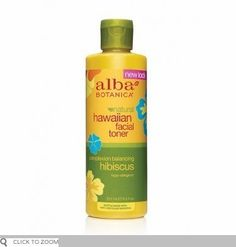 Alba Botanica: Natural Hawaiian Facial Toner, Balancing Hibiscus 8 oz (9 pack) by Alba Botanica. $85.10. Even better in paradise. Calm, cool-as-a-cucumber witch hazel and aloe vera purify and minimize pores. Extracts of hibiscus, honeysuckle, passion flower and guava further refine and refresh so skin finishes with a smooth, balanced tone. Even complexion without the shine? How pure-fect! Hypo-allergenic.Directions: After cleansing, dampen cotton ball with toner and ...