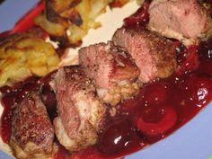 Recette - Magret de canard et sa sauce cerise | Notée 4/5 Barbecue, Steak, Pork, Food And Drink, Chicken, Cooking, Recipes, Sauces, Foie Gras