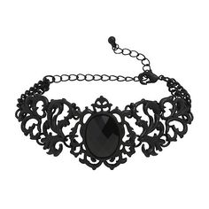 Blackheart Matte Black Filigree Chain Bracelet Hot Topic ($8.90) ❤ liked on Polyvore featuring jewelry, bracelets, nickel free jewelry, filigree jewelry, hot topic, gothic jewelry and goth jewelry