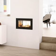 Original Double Sided Wood Burning Insert Fire glass door one side fixed Wood, Display, Wood Burning Insert, Modern, Fire Glass, Home Decor, Modern Fireplace, Wood Burning, Wood Burning Fireplace Inserts