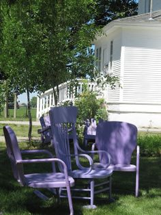 Sitting outdoors under the tall pecan trees, my uncles and grandfather would sit in similar lawn chairs and talk while we children played nearby The Wicker House: Silver Fox Lavender Farm Wicker Chairs, Lawn Chairs, Outdoor Chairs, Outdoor Decor, Purple Outdoor Furniture, Lavender Cottage, Purple Garden, Country Farm, Vintage Chairs